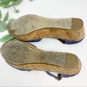 Toms Shoes - Toms Denim Espadrilles Wedges Size 9